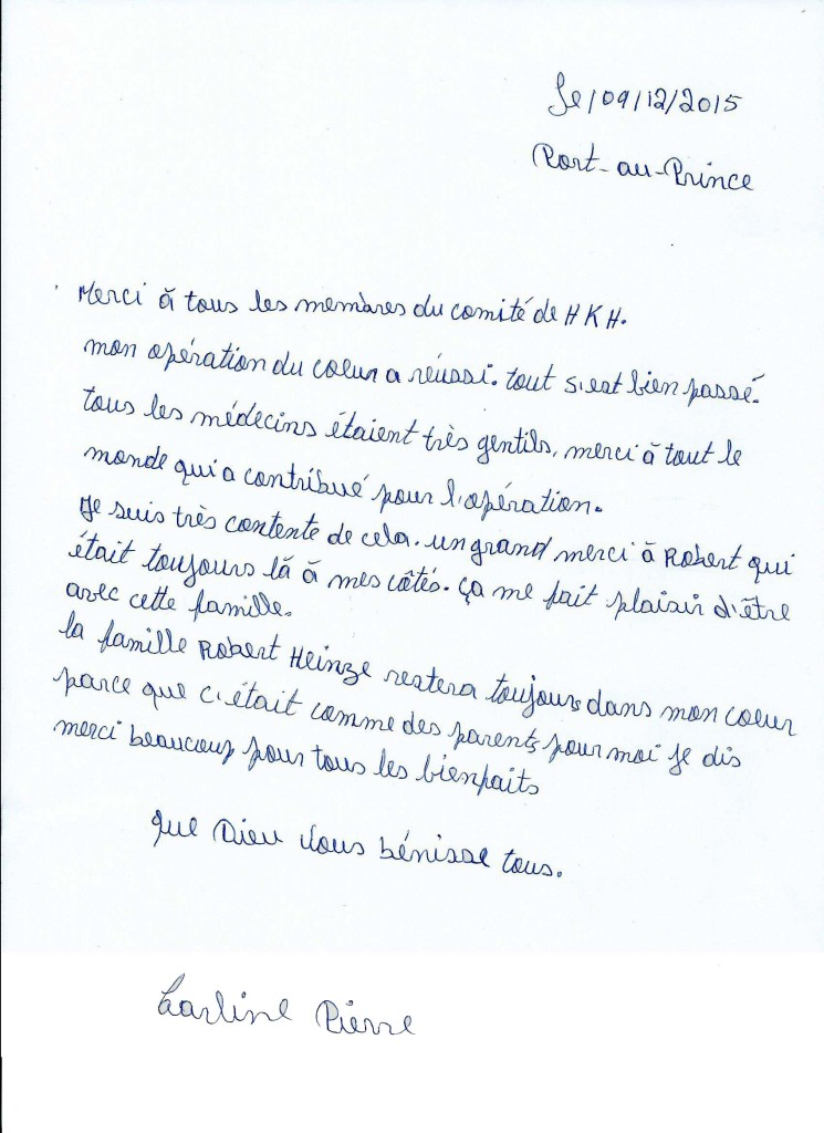 Lettre de Carline Pierre